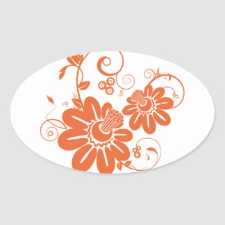 Orange Honeysuckle Bloom and Vine Oval Stickers