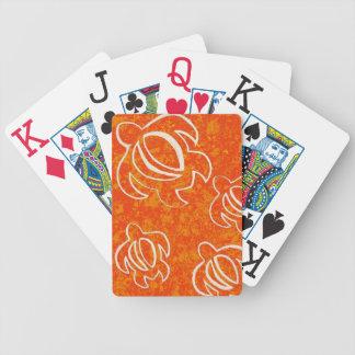 Orange Honu Bicycle Playing Cards
