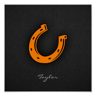 Orange Horseshoe Poster