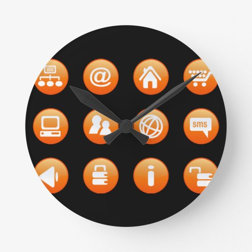 Orange Hot Keys Round Clock