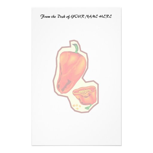 Orange hot peppers one cut in half graphic customized stationery