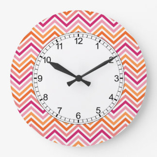 Orange & Hot Pink Chevron Pattern Clock