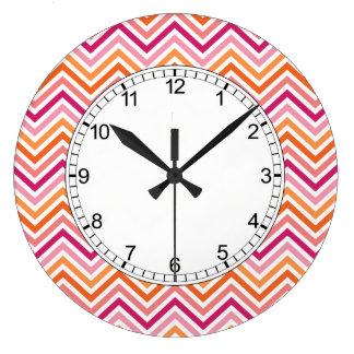 Orange & Hot Pink Chevron Pattern Large Clock