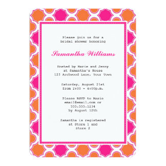 Orange & Hot Pink Quatrefoil Pattern Bridal Shower Card