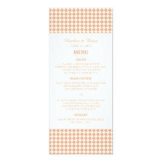 Orange Houndstooth Wedding Menu Invite
