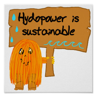 orange hydropower is sustainable posters