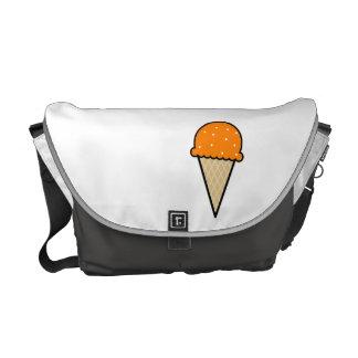 Orange Ice Cream Cone Messenger Bags