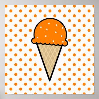 Orange Ice Cream Cone Poster