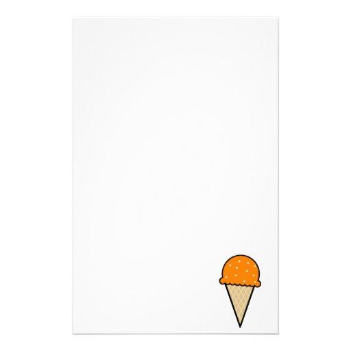 Orange Ice Cream Cone Custom Stationery