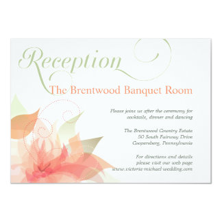 Orange Ice Floral Garden Wedding Reception Card