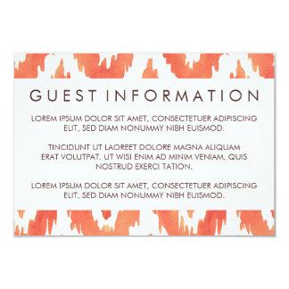Orange Ikat Guest Information Card