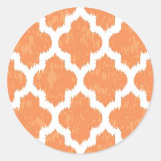 Orange Ikat Quatrefoil Classic Modern Geometric Round Sticker