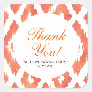 Orange Ikat Thank You Square Sticker