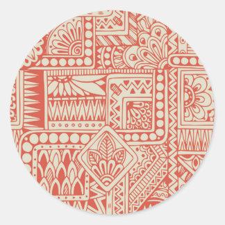 Orange Indian Ethnic Totem Classic Round Sticker
