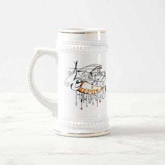 Orange Inspire In Lines and Dangles Beer Steins
