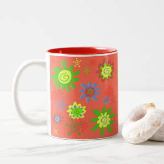 ORANGE JOYFYL MUG, FUN PATTERN, ORANGE HOME GIFT Two-Tone COFFEE MUG