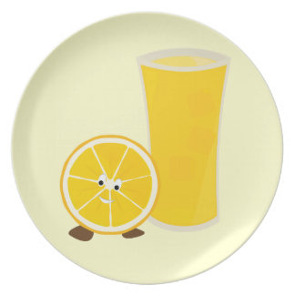 Orange juice glass and orange character party plates