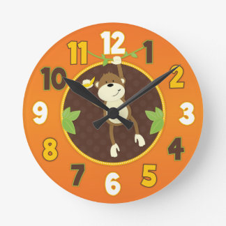 Orange Jungle Safari Monkey Wall Clock