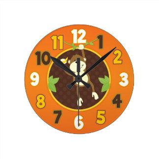 Orange Jungle Safari Monkey Wall Clock