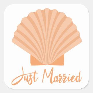 Orange Just Married Seashell Nautical Wedding Square Sticker
