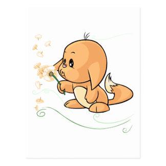 Orange Kacheek wishing on a dandelion Postcard