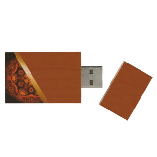 Orange kaleidoscope with brown USB-wood Wood USB Flash Drive