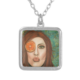 orange kiss silver plated necklace