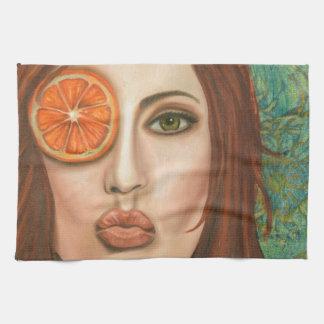 orange kiss tea towel
