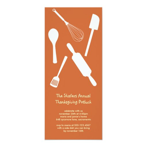 Orange kitchen utensil Thanksgiving potluck party 10 Cm X 24 Cm Invitation Card