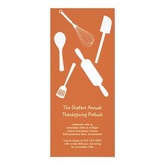 Orange kitchen utensil Thanksgiving potluck party Card