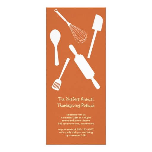 Orange kitchen utensil Thanksgiving potluck party Custom Invites