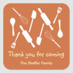 Orange kitchen utensil Thanksgiving potluck party Square Stickers