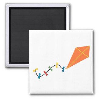 Orange Kite Square Magnet