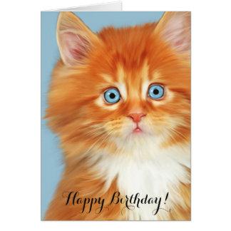 Orange Kitten Blue Eyes Birthday Card