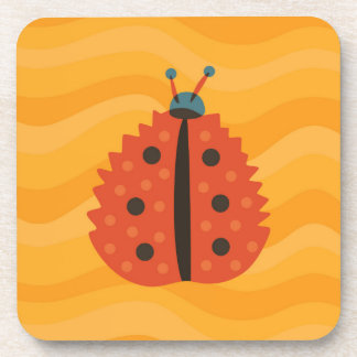Orange Ladybug Masked As Autumn Leaf Coaster