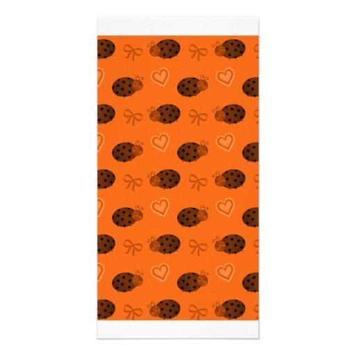 Orange ladybugs hearts bows pattern photo greeting card
