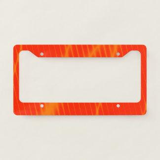 Orange Laser Beam Look Lines on a Red Background Licence Plate Frame