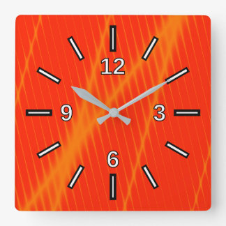 Orange Laser Beam Look Lines on a Red Background Square Wall Clock