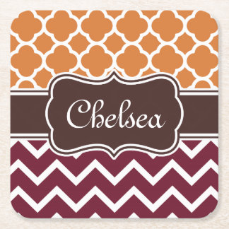 Orange Lattice Maroon Chevron Patterns Brown Name Square Paper Coaster