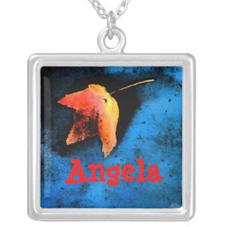 Orange leaf personalized necklace