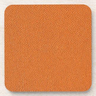 Orange Leather Look Coaster