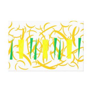 Orange Leaves Green Chili Pattern Print Canvas