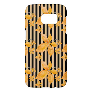 Orange Leaves on Black and Gold Stripes