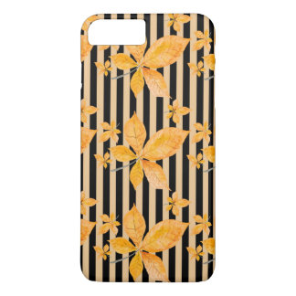 Orange Leaves on Black and Gold Stripes iPhone 7 Plus Case