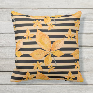 Orange Leaves on Black and Gold Stripes Outdoor Cushion