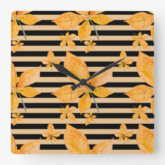 Orange Leaves on Black and Gold Stripes Square Wall Clock
