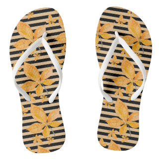 Orange Leaves on Black and Gold Stripes Thongs
