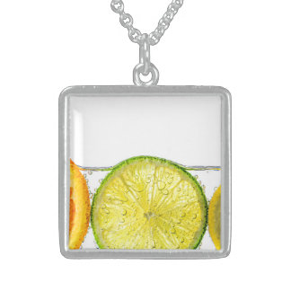Orange lemon and lime slices in water square pendant necklace