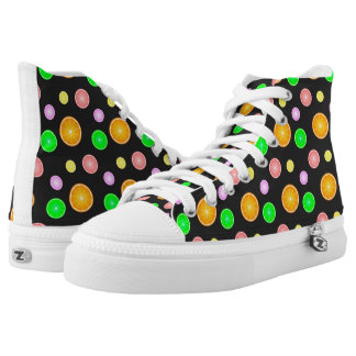 Orange lemon lime grapefruit summer party pattern high tops