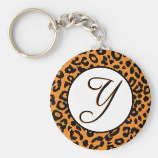 Orange Leopard Design with Y Key Ring